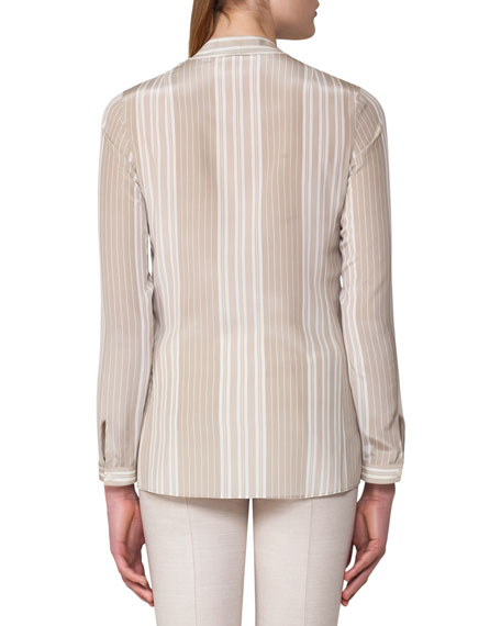 Striped Stretch Silk Tie-Neck Blouse, Gray