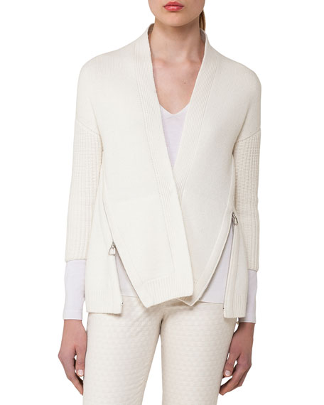 Akris Side-Zip Ribbed Cashmere Cardigan, Off White and