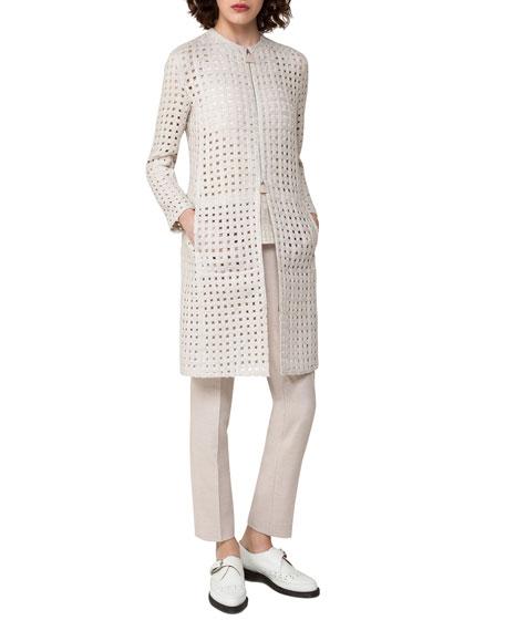 Cutout Zip-Front Jacket, Gray