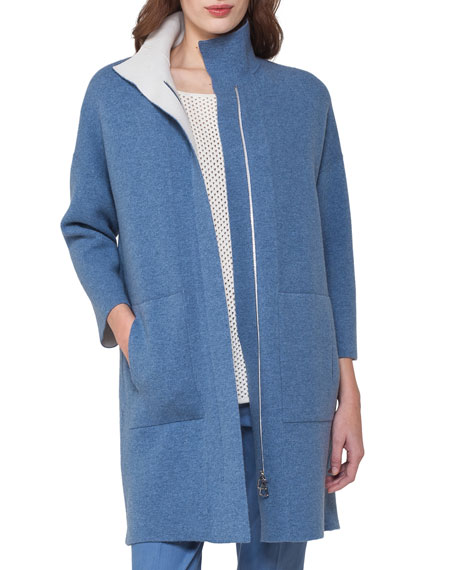 Akris Reversible Cashmere Front-Zip Swing Cardigan, Light Blue