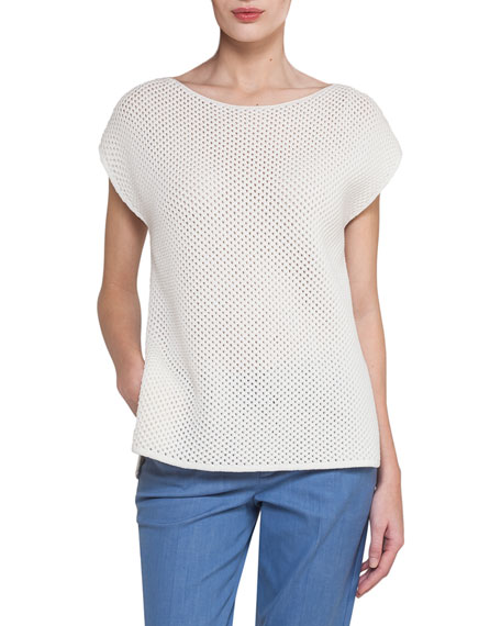 Akris Cap-Sleeve Netted Cashmere-Cotton Short-Sleeve Sweater, Off