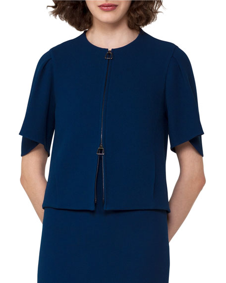 Akris Double-Face Crepe Jacket, Blue