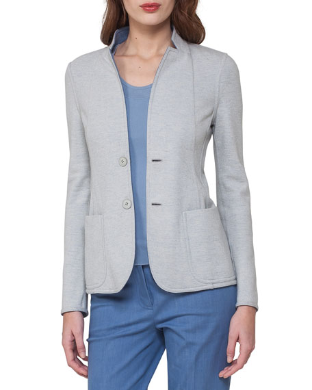 Reversible Cashmere Jersey Two-Button Jacket, Light Blue/Gray