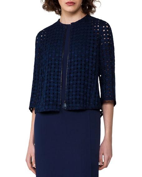Akris Grid-Pattern Zip-Front Jacket, Dark Blue and Matching