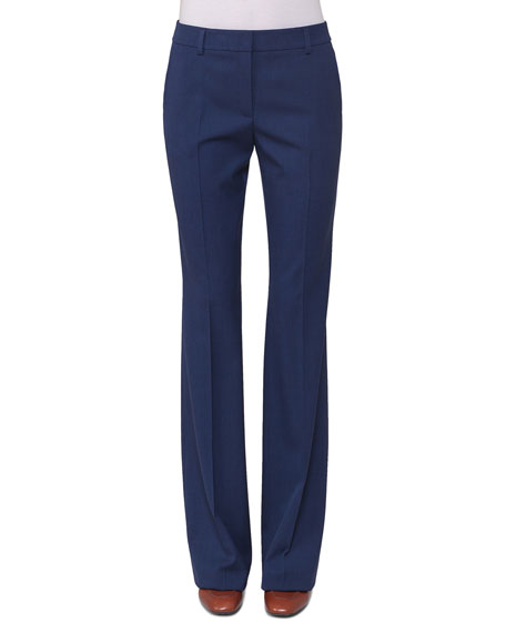 Akris Marylin Slim Flare-Leg Pants, Blue