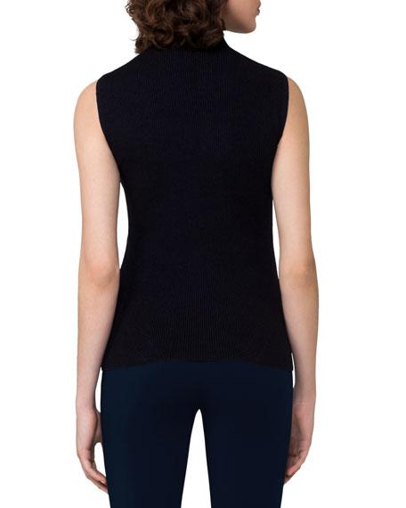Ribbed Sleeveless Quarter-Zip Pullover, Blue