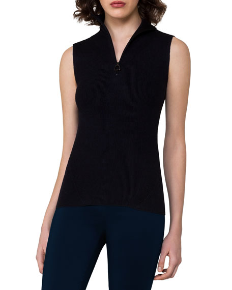Akris Ribbed Sleeveless Quarter-Zip Pullover, Blue