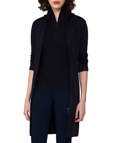 Akris Ribbed Zip-Front Long Cardigan, Blue