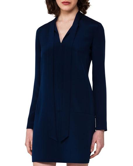 Silk Crepe Long-Sleeve Tie-Neck Tunic Dress, Blue