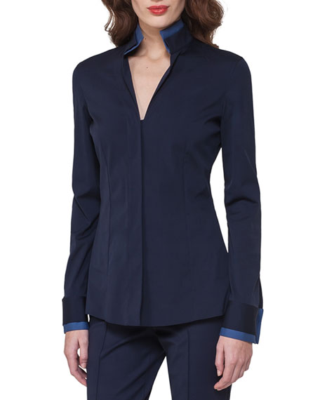 Akris Bicolor Stretch Poplin Shirt, Dark Blue