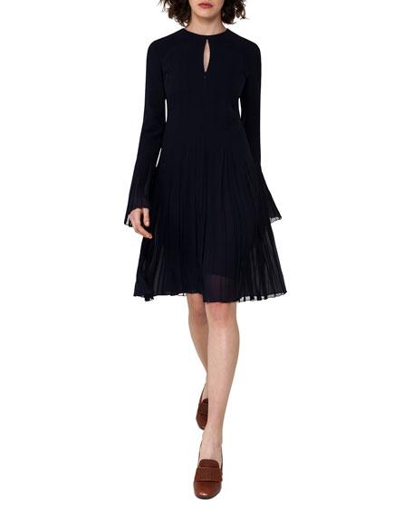 Bell-Sleeve Silk Georgette Plissé Dress, Blue