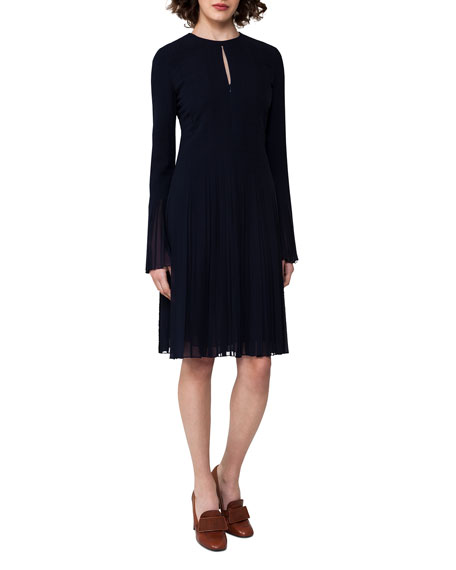 Akris Bell-Sleeve Silk Georgette Plissé Dress, Blue
