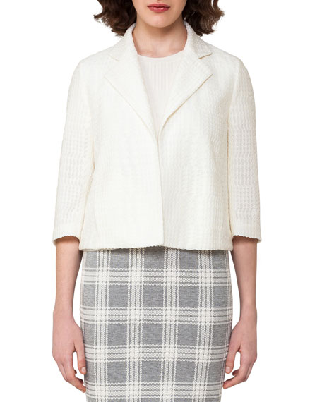 Akris Check-Embroidered 3/4-Sleeve Cropped Jacket, Off White and