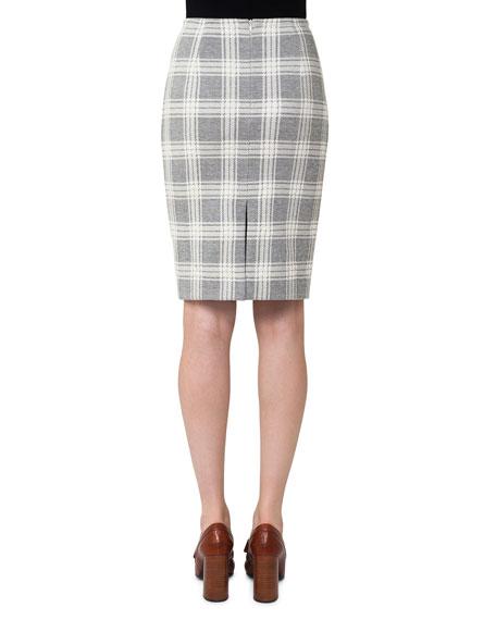 Check Jacquard Pencil Skirt, Off White