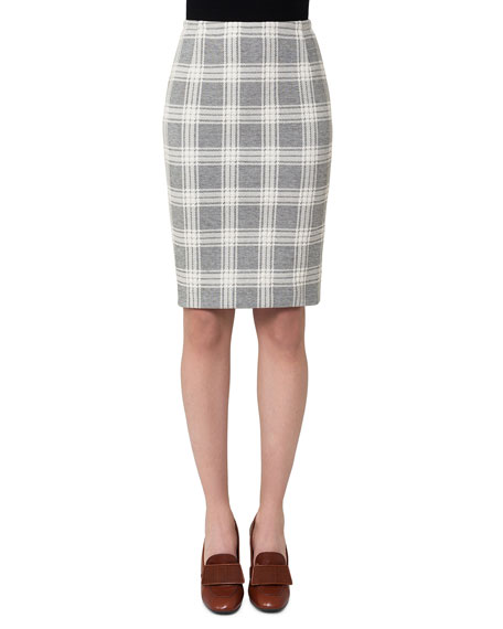 Akris Check Jacquard Pencil Skirt, Off White