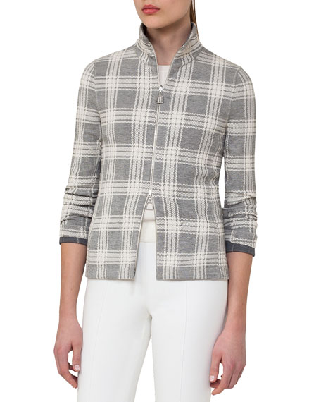 Akris Short-Sleeve Ribbed Pullover, Off White and Matching