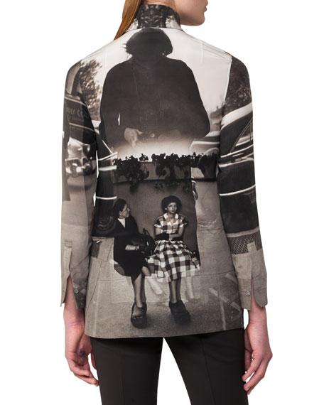 Photographic-Print Zip-Front Silk Tunic, Black