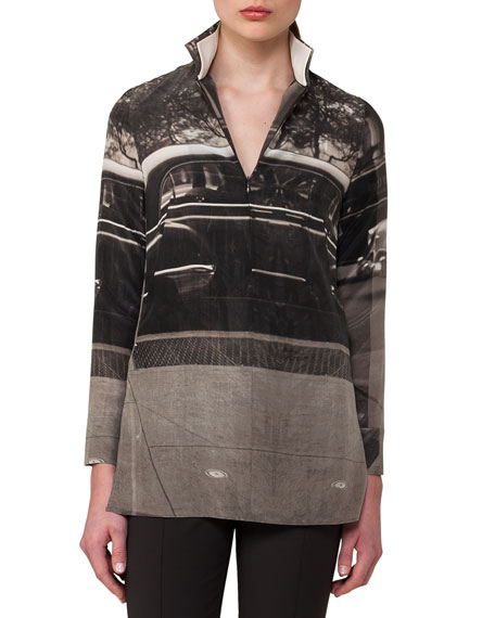 Photographic-Print Zip-Front Silk Tunic, Black
