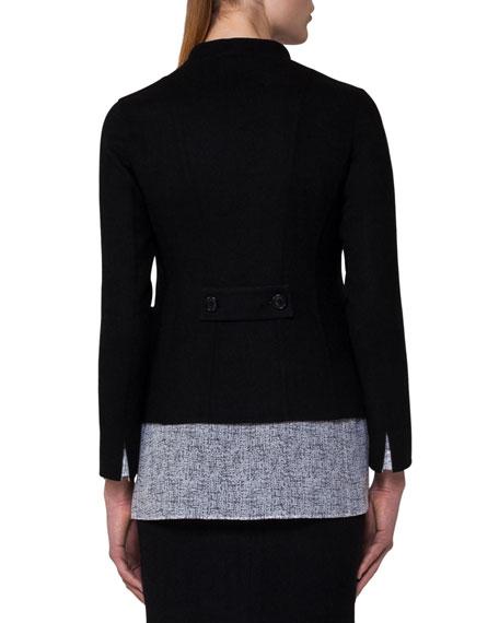Reversible Wool Double-Breasted Jacket, Black