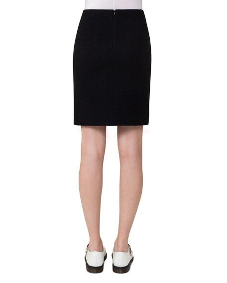 Wool Pencil Skirt, Black