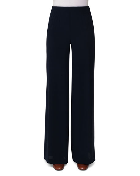 Akris Silk Georgette Wide-Leg Pants, Dark Blue