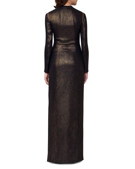 Silk Lurex® Long-Sleeve V-Neck Gown, Black