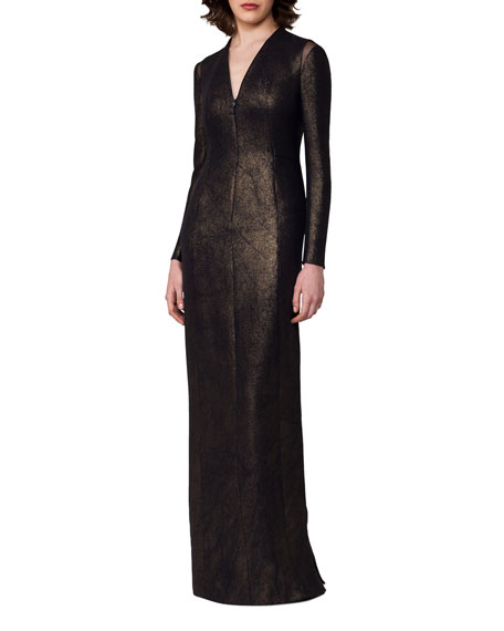 Silk Lurex® Long-Sleeve V-Neck Gown, Black