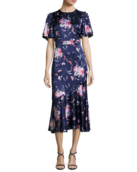 Prabal Gurung Flutter-Sleeve Floral Silk Satin Midi Dress,