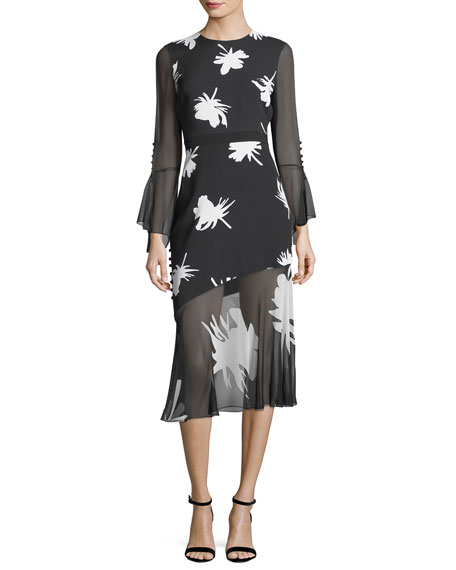 Prabal Gurung Floral-Print Long-Sleeve Midi Cocktail Dress