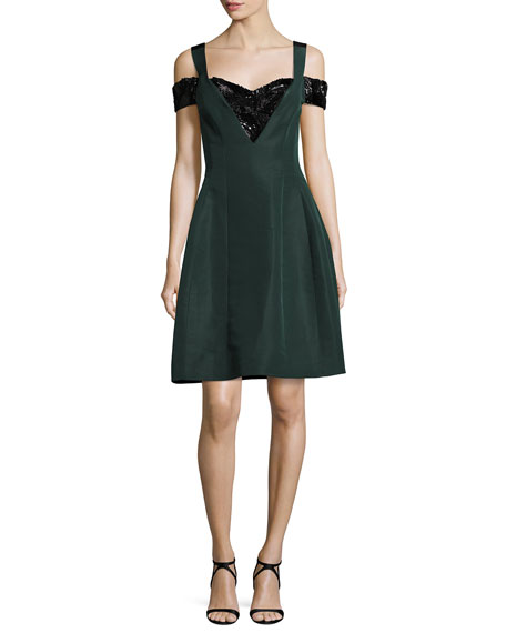 Prabal Gurung Cold-Shoulder Beaded Fit & Flare Dress,