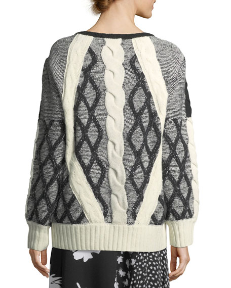 Cable-Knit Tweed Crewneck Sweater