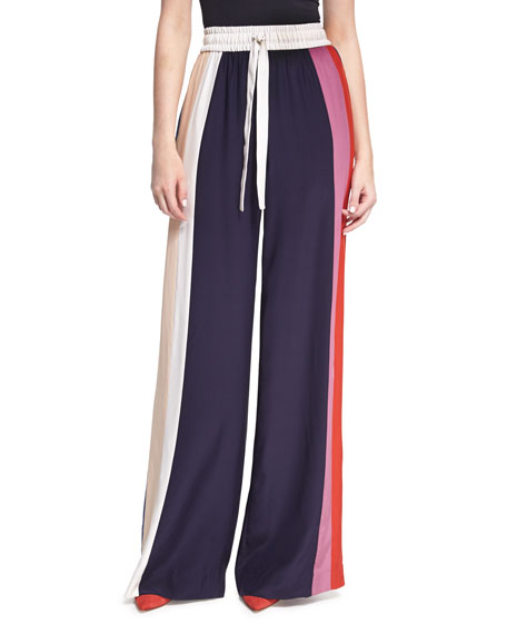 Striped Wide-Leg Track Pants, Multicolor