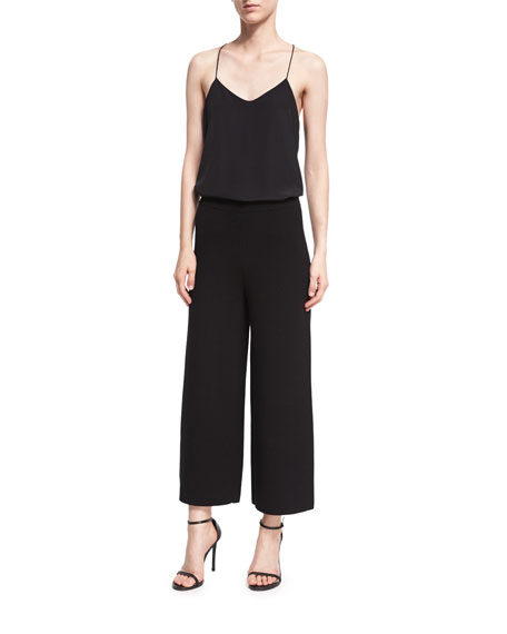 Knit Cropped Straight-Leg Pants, Black