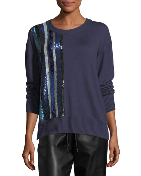 Sequined Cashmere Crewneck Sweater
