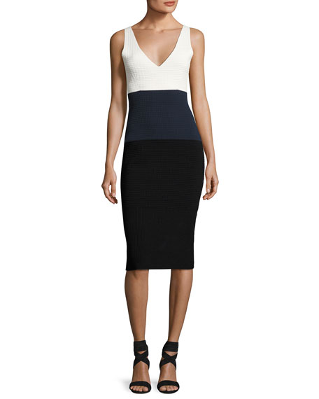 Sleeveless Colorblock Waffle-Knit Dress, White Pattern
