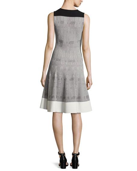Sleeveless Geometric Tweed Dress