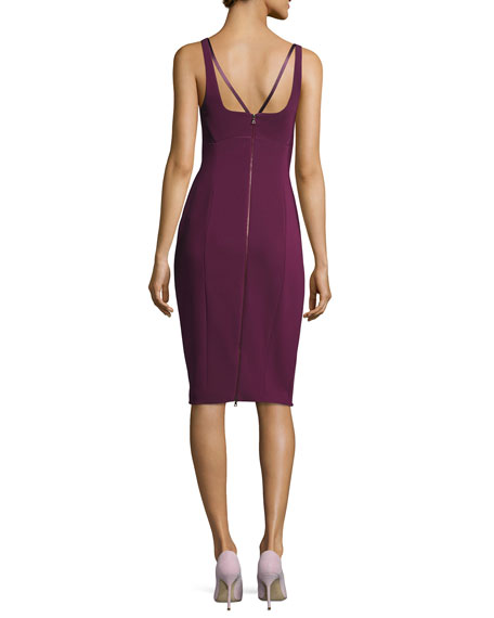 Sleeveless Bustier Sheath Dress, Dark Pink