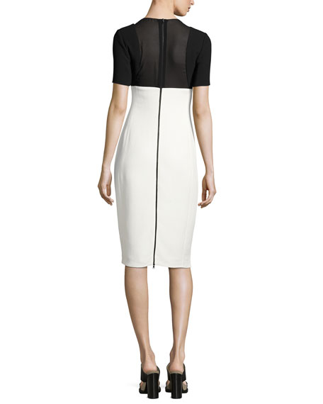 Two-Tone Short-Sleeve Sheath Dress, Black/White