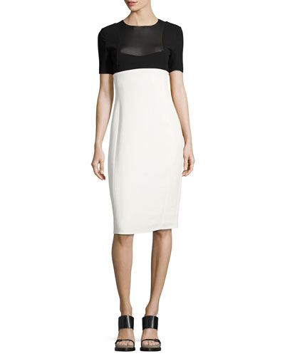 Two-Tone Short-Sleeve Sheath Dress, Black/White
