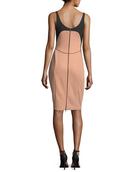 Bicolor Scoop-Neck Sleeveless Dress