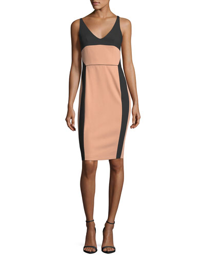 Bicolor Scoop-Neck Sleeveless Dress
