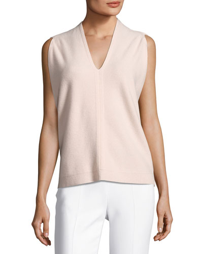 Sleeveless Cocoon-Wrap Wool-Cashmere Sweater, Pink
