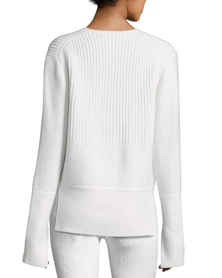 Mixed-Knit V-Neck Sweater, White/Black