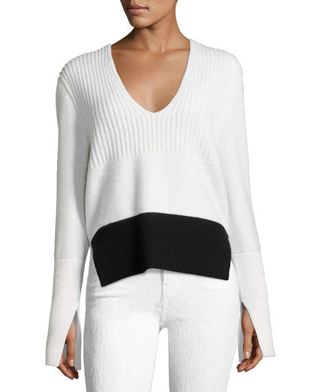 Narciso Rodriguez Mixed-Knit V-Neck Sweater, White/Black