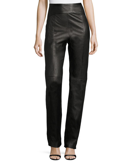 Contour-Yoke Leather Straight-Leg Pants