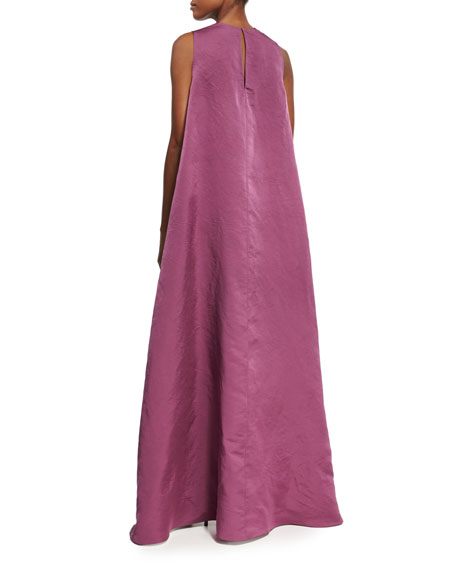 High-Low Sculpted Silk Drape-Back Top, Pink