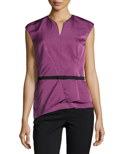 Belted Modern Peplum Silk Top, Pink