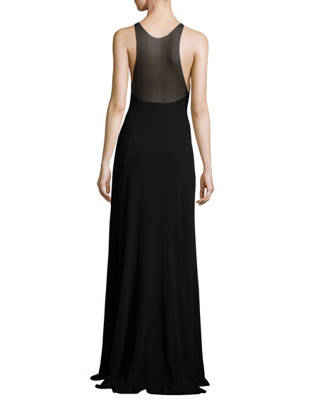 Sleeveless Sheer-Inset Cady Gown