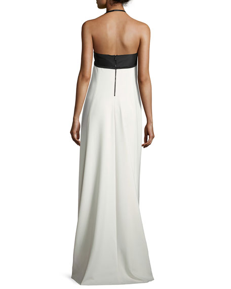 Two-Tone Crepe Halter Gown