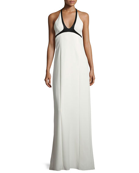 Two-Tone Crepe Halter Gown, White/Black